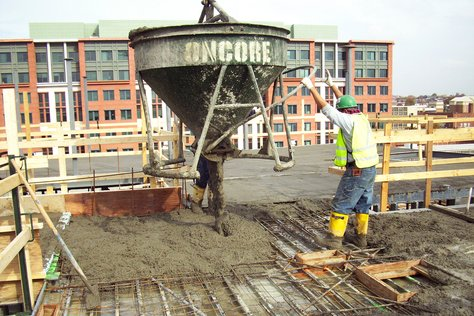 Pouring Concrete Using Buckets